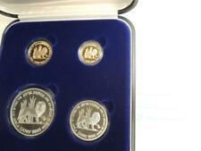 "Israel 1997 Holy Land Wildlife ""Lion and Pomegranate"" 2 Gold +2 Silver Coins Set"