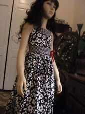 SWEET FLORAL CHILD'S HOLIDAY BRIDESMAID EASTER BIRITHDAYDRESS - BOLD BLACK & WHI