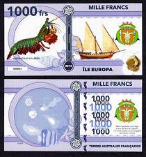 RARE ★ ILE EUROPA ● TAAF / COLONIE ● BILLET POLYMER 1000 FRANCS ★ N.SERIE 000003