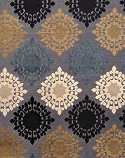 Retro Blues Starburst Retro Vintage Mod Sofa Upholstery Fabric Chenille Drapery