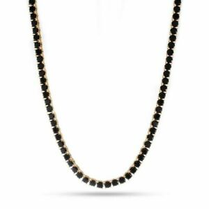 "12.00 Carat Black Diamond 18k Yellow Gold Finish Unisex 4mm Tennis Necklace 22"""
