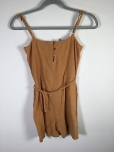 Ripcurl womens camel playsuit romper size 8 sleeveless cotton stretchy fit
