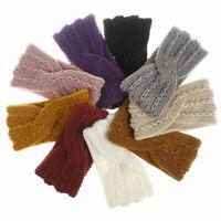 Warmer Headband Elastic Hairband Wool Knitted Headwrap Crochet Ear Cross Fall