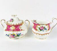 Vintage Royal Albert Lady Carlyle Pink Floral Creamer & Sugar Bowl w/ Lid 3 Pcs