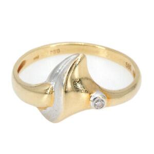 Zierlicher Vintage Bicolor Gelbgold 585/14K Diamantring Damenring Gr. 56