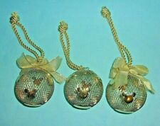 "Walt Disney Gold Mesh Christmas Ornament 3"" Ball With Mickey Mouse Ears...3 PCS"