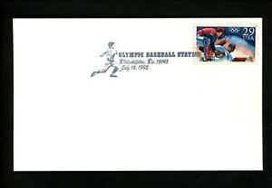 US Postal History Sports Baseball Olympic Card #2619 Pictorial 1992 Phila PA
