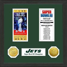 New York Jets Framed Matted 4 Super bowl Ticket Collage 2 Gold Coin 12X15 Namath