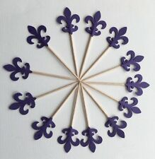 30 Double Sided Dark Purple Fleur-de-lis Cupcake toppers Food pick Party Favors