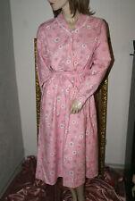 Langes weiches Vintage Wohlfühl - Negligee Nachtkleid rosa Bindegürtel   L