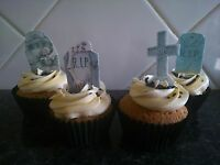 20 Halloween Gravestones Edible Wafer CupCake Toppers **STAND UPS**
