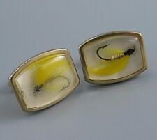 Mens Vintage YELLOW FLY FISHING LURE CUFFLINKS Costume Jewelry S68