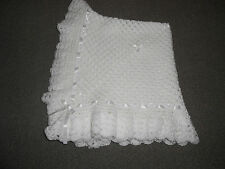 WHITE CROCHET  HANDMADE BABY BLANKET 40 INCHES , REBORN, NEW BABY,  SHAWL,