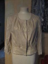 New NWT Worthington linen tan shimmer blousen jacket snap front sz M