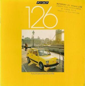 Fiat 126 652cc 1977-79 UK Market Sales Brochure Saloon De Ville