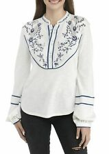 Nwt Free People Sundance Kid Western Embroidered Henley, Ivory, Sz S
