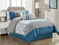 Blue 7 Piece Luxury Soft Microfiber Oversized Bedroom Comforter Sets Queen Size