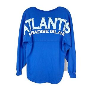 ATLANTIS Paradise Island Spirit Jersey Long Sleeve Shirt Bahamas Resort Blue XS