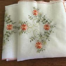 Pair Pretty Embroidery Flower Sheer Cafe / Kitchen Curtain--Orange