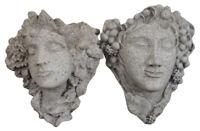 "2 Stone Figural Wall Pocket Sconces Planters Dionysus Bacchus Grapes 13"" Pair"