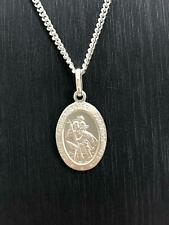 St Christopher Small Oval Pendant 925 Sterling Silver 1.60gr FREE UK SHIPPING
