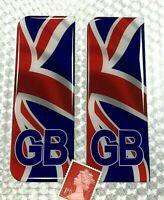 2 x WAVING UNION JACK GB Number Plate Stickers Super Shiny Domed Resin Finish