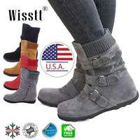 Women's Winter Warm Ankle Boots Fur Snow Short Mid Calf Slouch Buckle Flat Shoes