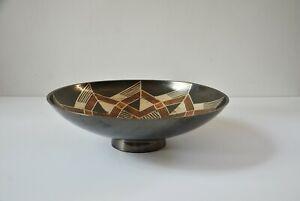 Vintage Rosenthal Netter centerpiece bowl Metal brass gemetric design, India