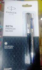 Parker Beta Premium Roller Ball Pen Refillable * Silver Finish Cap *