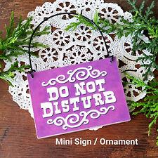 Decowords Mini Sign DO NOT DISTURB SIGN Door Knob Hanger Plaque PURPLE Ornament