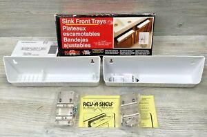 "2 Rev-A-Shelf Sink Front Trays 11"" Length w/ Hinges White 6572-11W-5-R w/ Box"