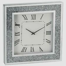 Diamond Crush Crystal Large Sparkly Mirrored Square Wall Clock- Silver 40x40x5cm