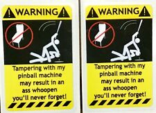 2-PACK PINBALL MACHINE WARNING STICKER   YELLOW  ARCADE PLAYBOY MATA HARI