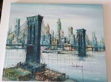 Tableau ancien vintage le pont de brooklyn newYork  50-60s  Suzanne Duchamp