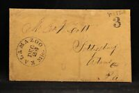 Michigan: Kalamazoo 1854 Stampless Cover + Letter, Black CDS & PAID 3 in 2 Lines
