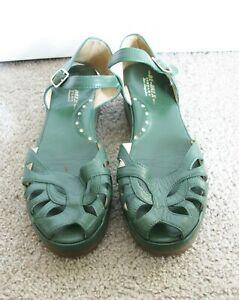 RE-MIX Hunter Green Leather 1940s Vintage Peep Toe Ankle Strap Sandal Shoe 9M