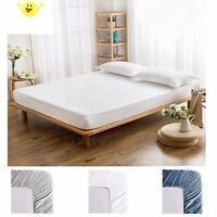 Fitted Sheet 100% Cotton Fits Deep Pocket Mattresses Full Elastic Around 1000 TC