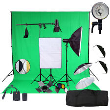 3X150W FLASH STROBE KIT PHOTOGRAPHY STUDIO FLASH LIGHTING SOFTBOX W BACKDROP PRO