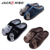 Mens Winter Cute Cat Indoor Home Slippers Bedroom Soft Warm Plush House Shoes