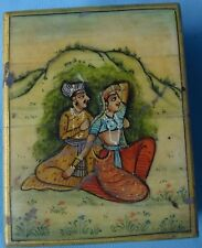 HAND PAINTING OF ROYAL COUPLE DECORATIVE PIECE INDIAN ART CAMEL BONE SMALL BOX