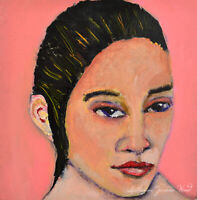 Oil Portrait Painting Pink Outsider Art Charisma Katie Jeanne Wood