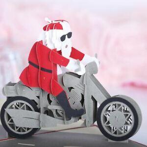 Christmas Xmas 3D pop up Card Santa Claus Motorcycle Motor Bike