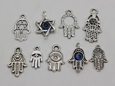 "40 Assorted Tibet Silver Kabbalah EVIL EYE Hamsa Hand ""Star of David"" Pendants"