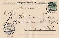 Postkarte verschickt von Offenbach nach Köln aus dem Jahr 1895