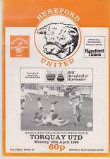 Programma / Programme Hereford United v Torquay United 16-04-1990