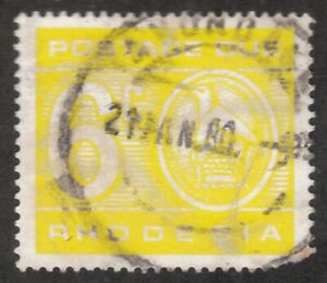 Rhodesia 6c Postage Due Stamp Used 1966