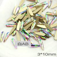 20pcs 3D Nail Art AB Crystal Rhinestone Nail Gems Flat Back Craft Teardrop Shape