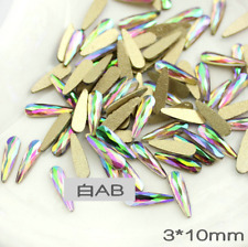 20pcs 3D Nail Art AB Crystal Rhinestone Nail Gems Flat Back Craft Teardrop Shape