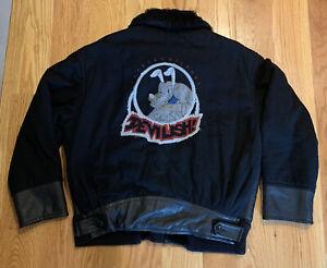 Vintage Iceberg History Devilish Pluto ~Wool Leather Jacket ~Sz 54 Italy Disney