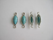 10 Tibetan Silver & Blue Turquoise Connectors Charms Pendants Jewellery 35x13mm